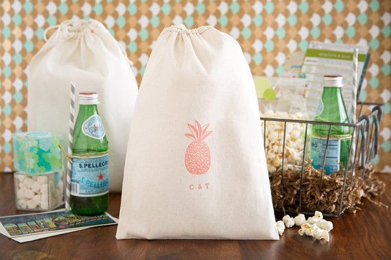 Pineapple Wedding Welcome Bag - Tropical Wedding Favors - Wedding Welcome Bags