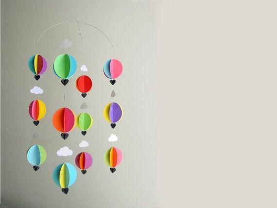 """Heißluft-Ballon Baby Mobile """"Bright Spark"""" - helle Kinderzimmer Dekor - Krippe Mobile - Baby Shower Geschenk - neue Baby - Geschlecht Neutral Babypartygeschenk"""