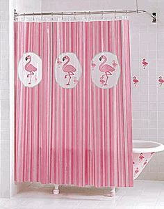 17 Best Images About Pink Flamingo Shower Curtain On
