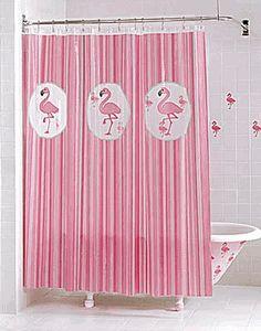 Charming Pink Flamingo Bathroom Decor. Tropical Pink Flamingo Vinyl Shower Curtain