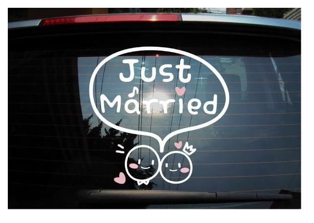 Just Married Decal Vinyl Sticker Vinyl lettering Wedding Car Decoration