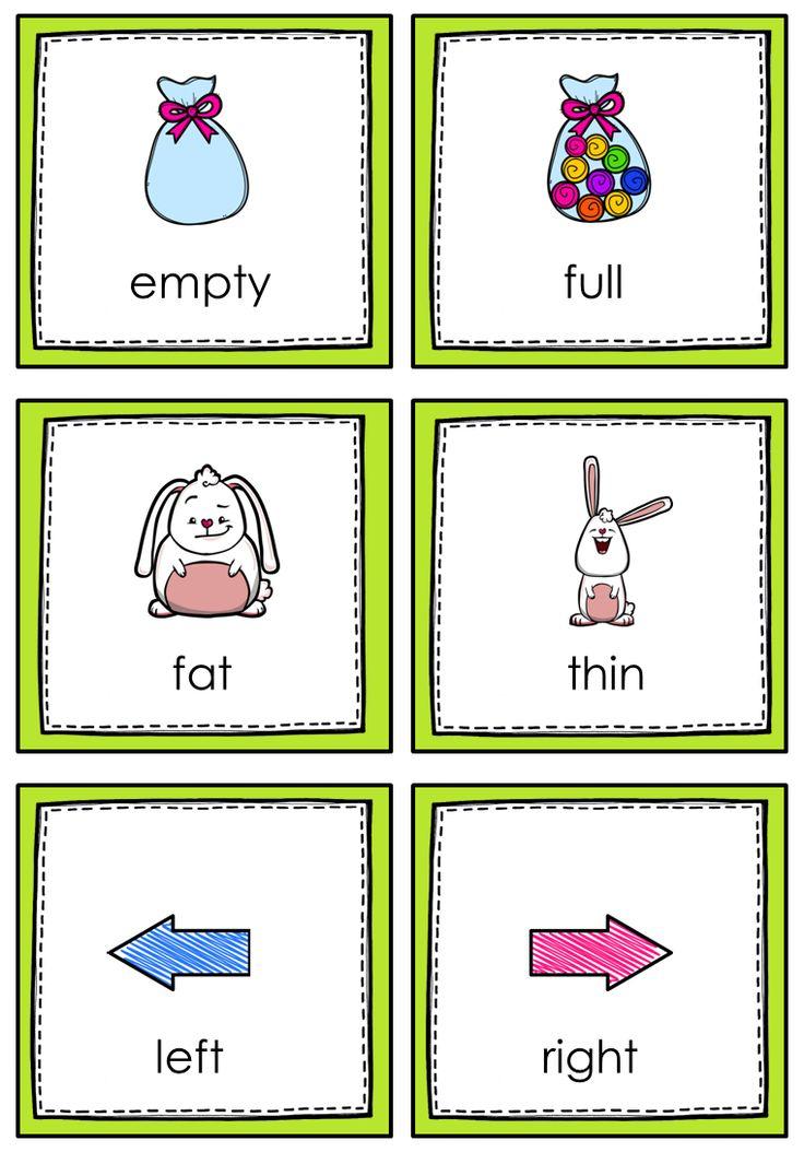 ourhomecreations: Opposite flashcards | Preschool- Worksheets ...