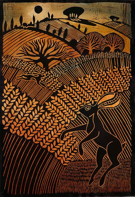 Wood Cut technique used by Angie Lewin. Use of natural form, tone and composition.