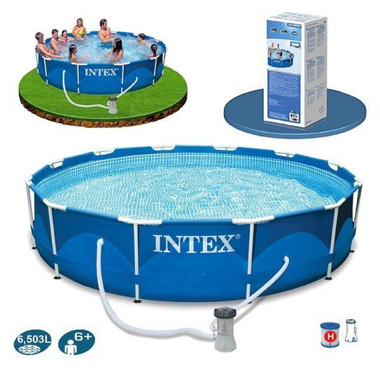 Swimming Pool Round Above Ground Framed Pools Family Garden Intex 12ftx30in Pump