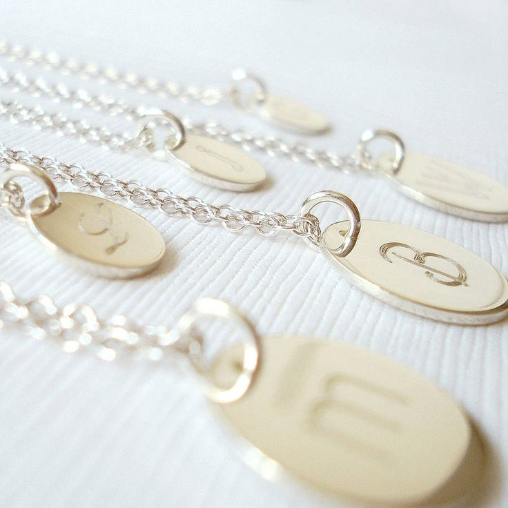 Sterling Silver Engraved Initial Necklace | Mia Belle