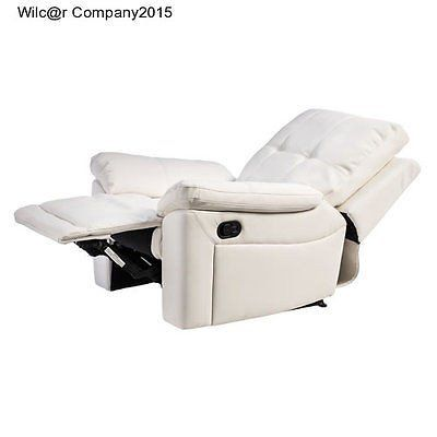 New White Leather Manual Recliner Lazy Boy Chair Furniture Seat Living Room