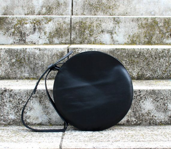 Black leather crossbody bag circle bag round bag by BogaBag