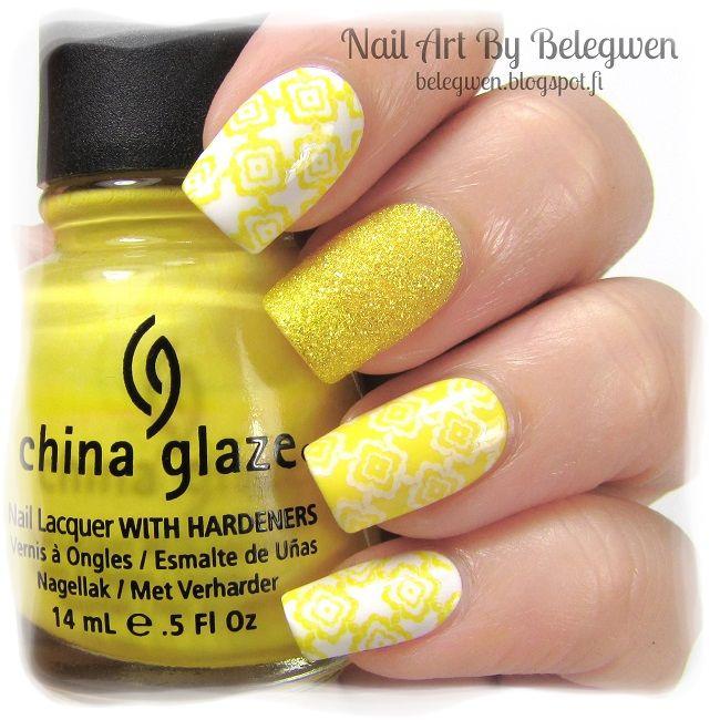 Nail Art by Belegwen: Gina Tricot White, Lumene Golden Sand & China Glaze Happy Go Lycky