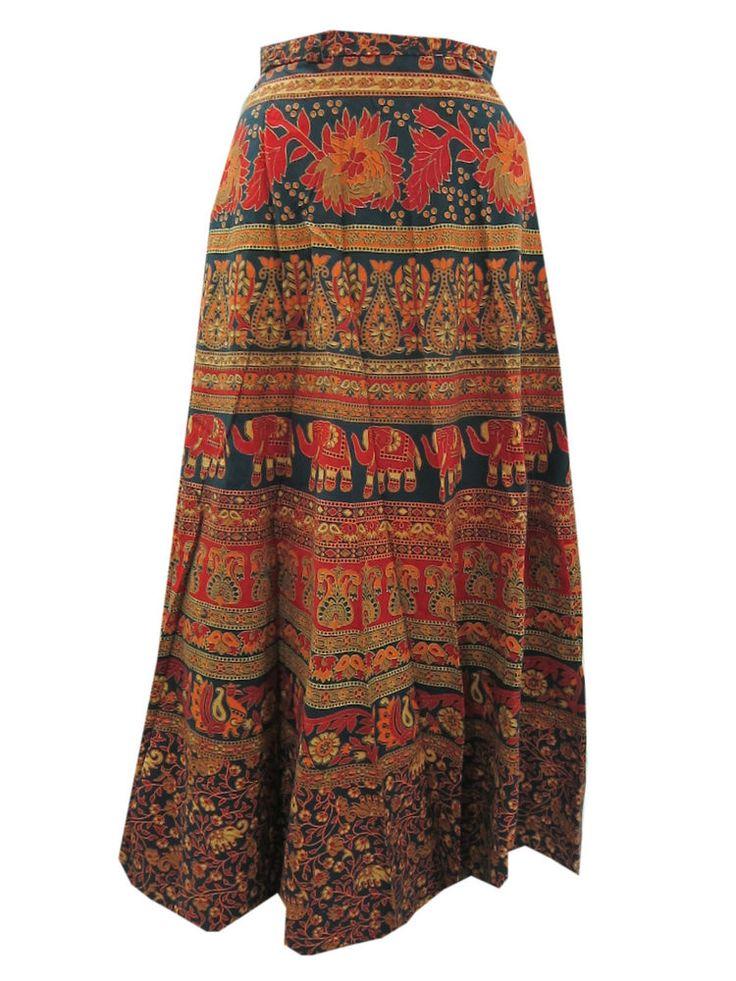 Beach Wrapskirt Orange Block printed Cotton Long Wrap Around Skirts