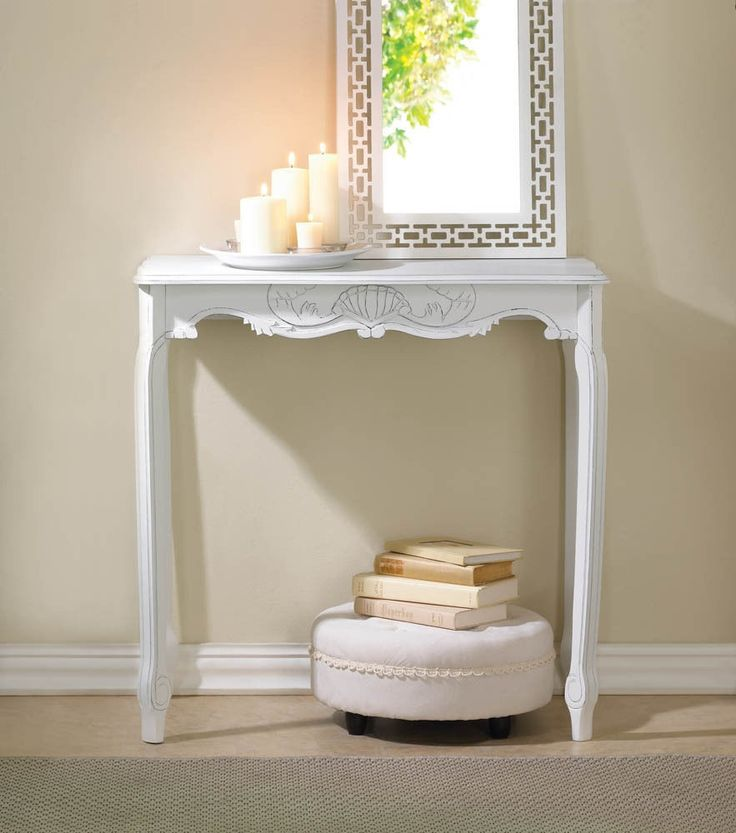 French Country Hallway Ideas Decor: White Shabby Distressed French Country Chic Accent Console