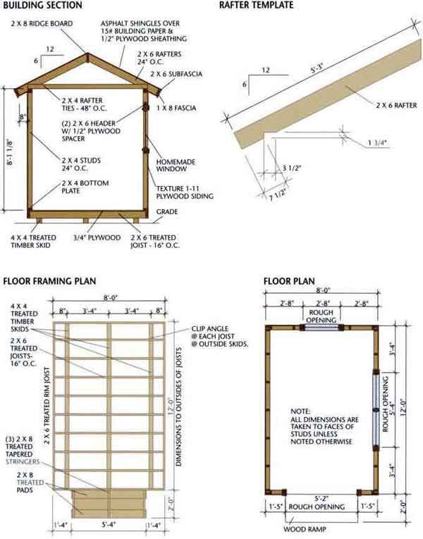 8x12 Shed Blueprints Foundation and Flooring