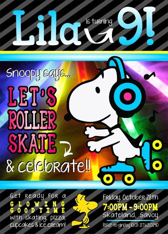Partie patinage de rouleau sur le thème Snoopy par ginijanedesigns