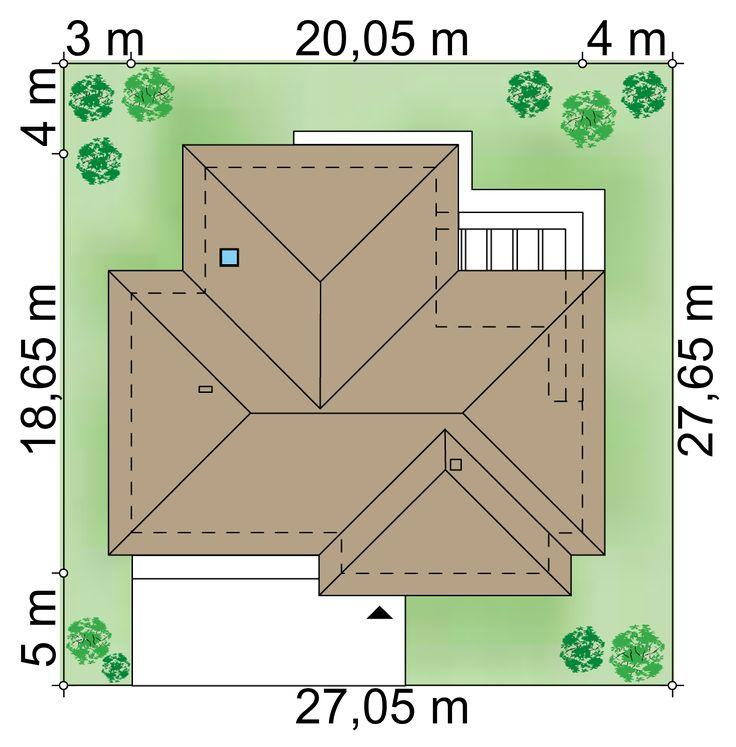 Działka 27.05 × 27.65 m domu Maciejka III NF40