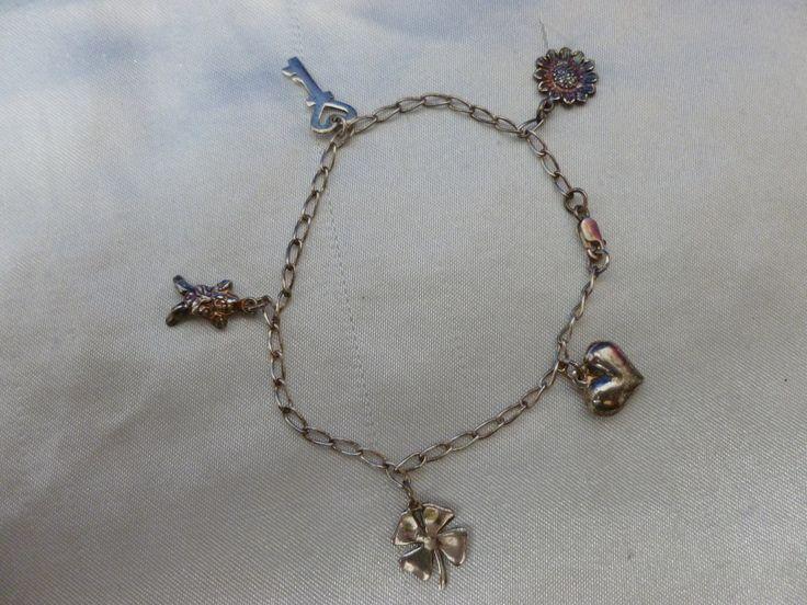 Dainty Vintage Charm Bracelet - Child's Silver Charm Bracelet - Vintage Silver Bracelet - 925 Charm Bracelet - Angel Silver Charm Bracelet by Teddyrose54 on Etsy