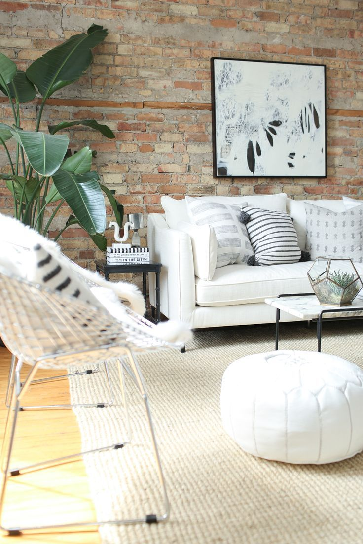 Beautiful Neutral Interiors White Couch Jute Rug Marble Coffee Table Exposed Brick