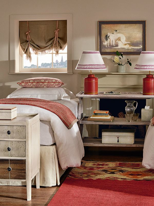 This English Country Style Twin Bedroom By Oka Uses Subtle Hints Of Red To Wake Up The Room Printed Cushions Tea Caddy Lamps And Patterned Lampshades Keep