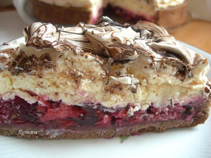 Wiśniowe ciasto z czekoladową bezą
