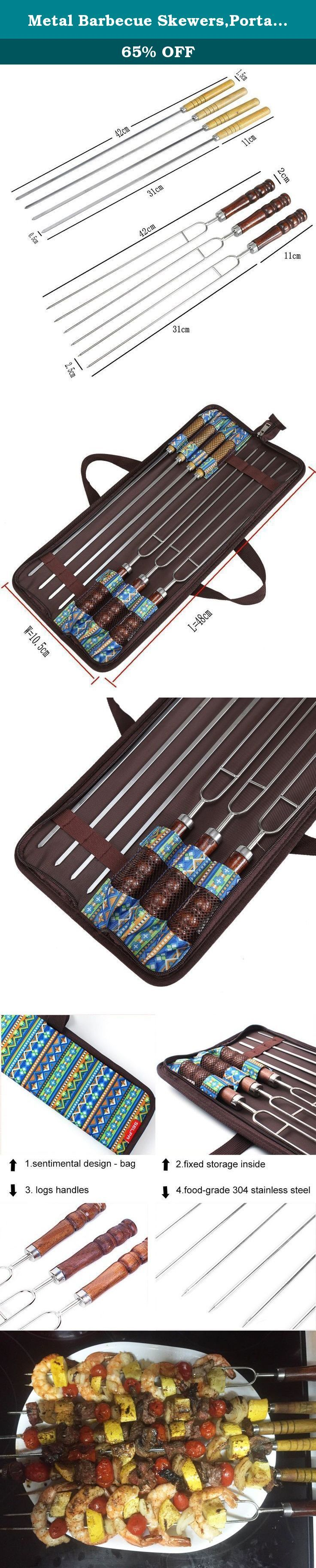 Metal Barbecue Skewers,Portable 4 Stainless Steel Oblate Kabob Sticks and 3 U Shish Stick 7 Pcs/Set. If you enjoy grilled kabobs, you're probably familiar with some challenges bellow : 1.having challenge to remove the cooked food from the skewer; 2.being burn easily with the bamboo skewers,especilly there are kids. and get in troubles with the skewers after meal; 3.the foods are spinning when you turn kabobs on the grill. Our skewers solve the problem *Forged with the precision of fine...