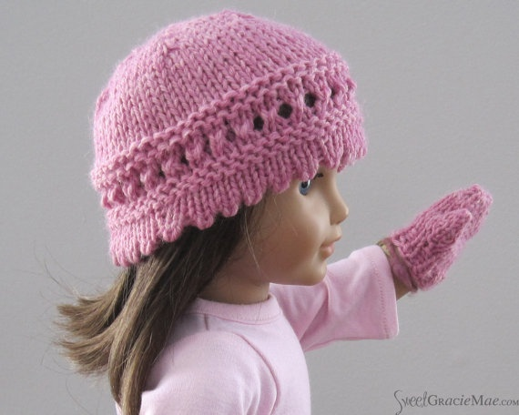 American Girl Doll Hat and Mitten Set