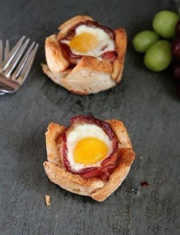 receta de cupcake salado de bacon y huevo