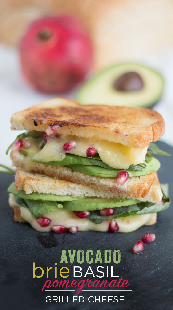 Avocado, Brie, Basil & Pomegranate Grilled Cheese: Satisfy your senses with this tasteful grilled cheese sandwich. Creamy avocado, melty Brie, fresh basil and tart pomegranate meet their match when layered between slices of California Goldminer Sourdough Bread.