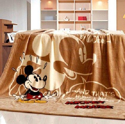 Одеяло с персонажами мультфильмов для детей, коралловый флис одеяла, микки маус дети постельных принадлежностей полный размер, темно-русый одеяла / простыня / домашний текстиль