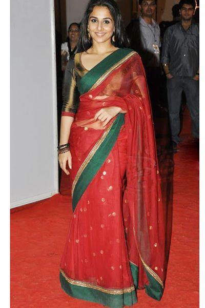 Vidya Balan Saree   ... list bollywood designer sarees ncel2026 vidya balan s red net saree