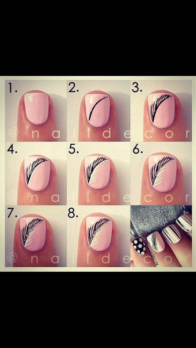 Nail feather tutorial . Super cute.