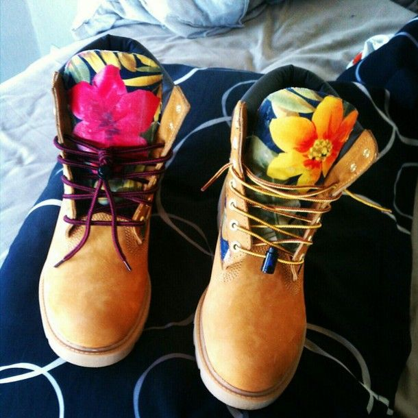 Shoes: floral, timberlands, sneakers, boots, numbuck, timberlands ...