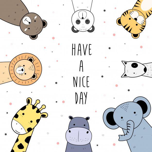 Cute Wild Animals Greeting Cartoon Doodle Background Doodle Background Cute Cartoon Wallpapers Doodles