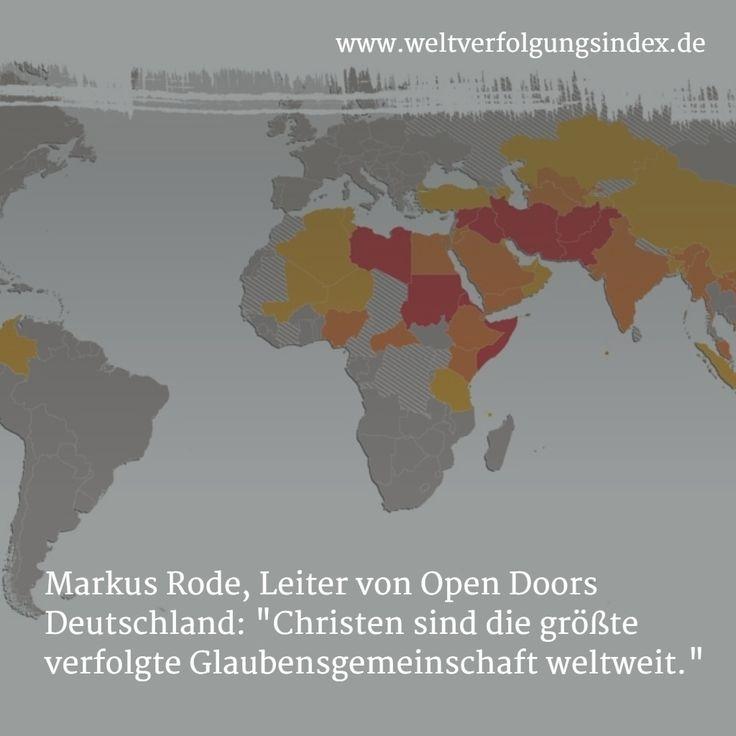 Weit über 100 Millionen Christen werden weltweit wegen ihres Glaubens verfolgt. Der jährlich von Open Doors herausgegebene Weltverfolgungsindex ist eine Rangliste von 50 Ländern, in denen Christen die stärkste Verfolgung erleben.