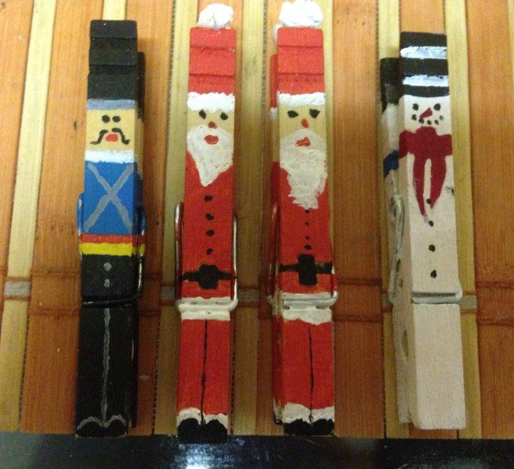 nutcracker, Santa Claus, snowman of pegs