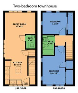 Townhouse search and google search on pinterest Two bedroom townhouse plans