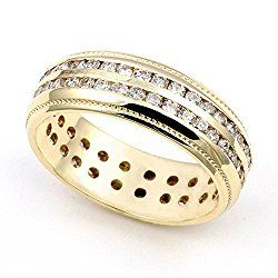 18k Yellow Gold Channel set Diamond Eternity Wedding Band Ring (G-H/SI, 1 1/7 ct.)
