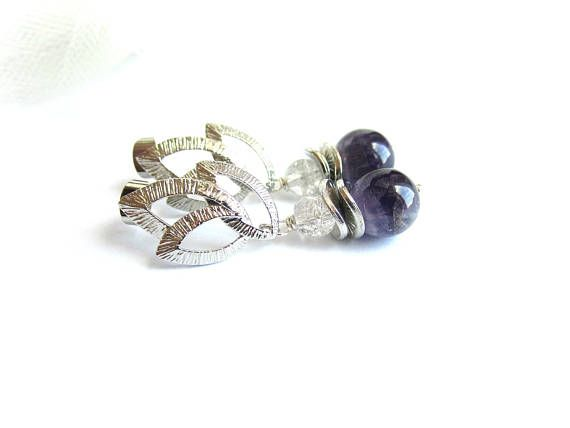 Amethyst drop earrings gemstone dangle earrings purple stone