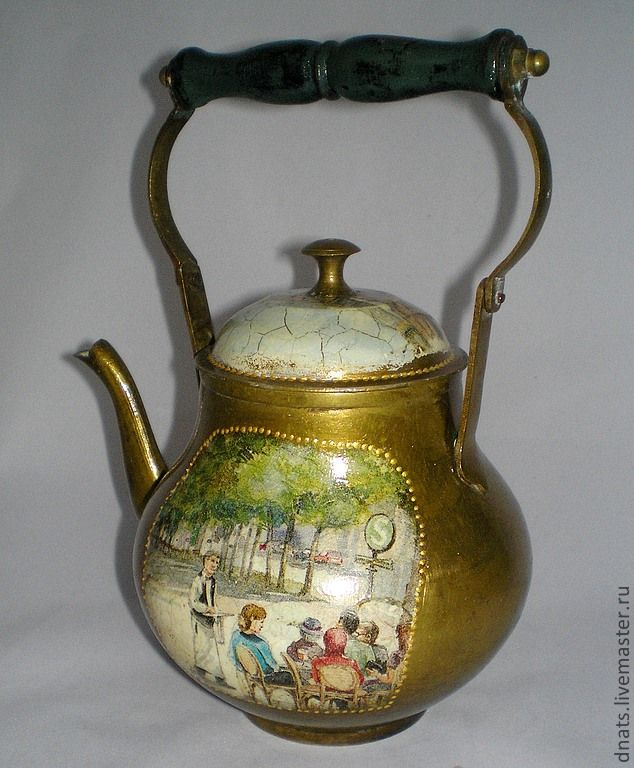 "Старинный чайник ""Из жизни обывателей"" - латунь,металл,чайничек,чайник"