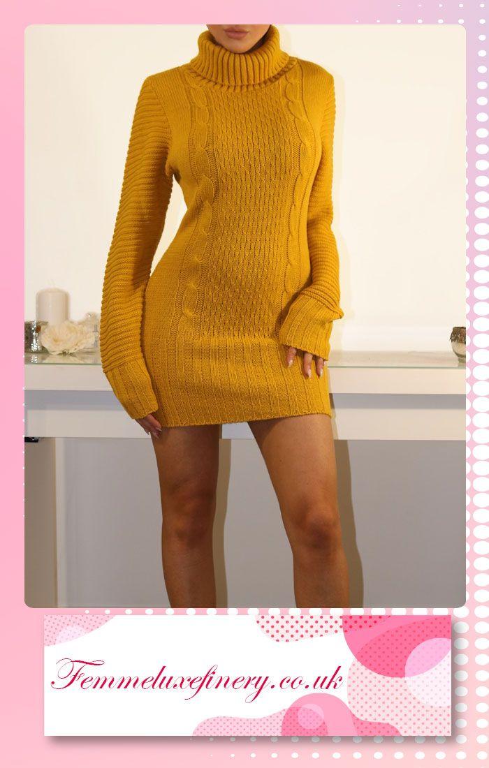 #MUSTARD #ROLL #NECK #CHUNKY #KNIT #JUMPER #DRESS #femmeluxe