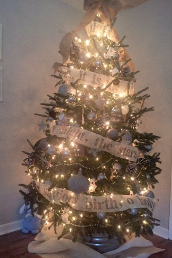 Burlap Christmas Tree Garland Names Of God And O Holy Night Etsy