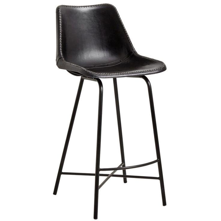 Nordal Barstol Black svart barstol läder barstol industristil stol läder metall vintagestil design Nordal