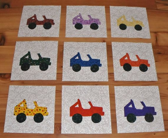Set of 9 Colorful Jeep  Applique Quilt Blocks by MarsyesQuiltShop, $11.95