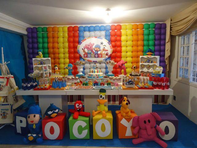 Decoração de festa infantil tema pocoyo decorating children's party theme pocoyo