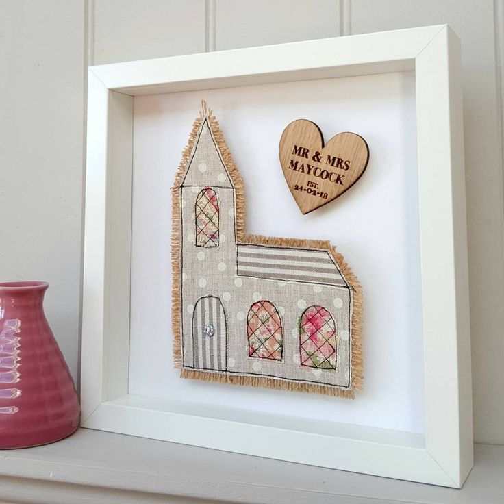 A hand embrodiered 3d Church picture framed