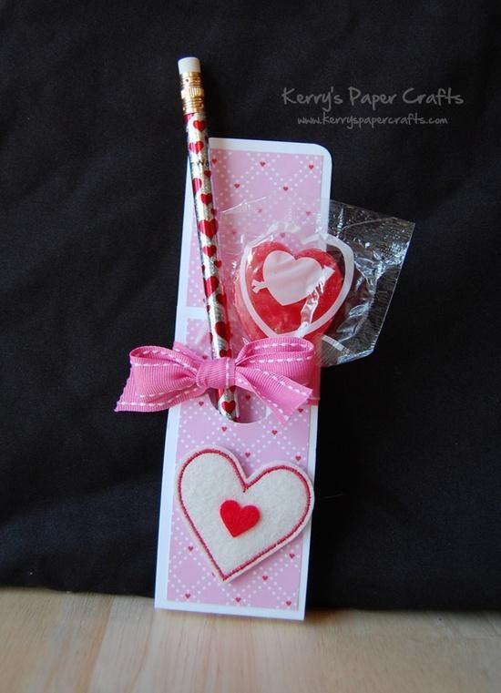 Diy Valentine pencil and sucker holder