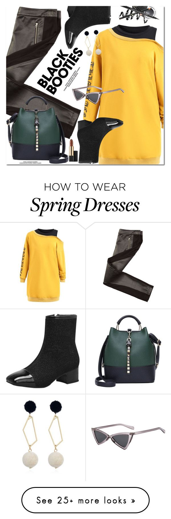 """""""Back to Basics: Black Booties"""" by oshint on Polyvore featuring Armani Exchange, Estée Lauder, cool, fabulous, wonderful, blackbooties and gamiss"""