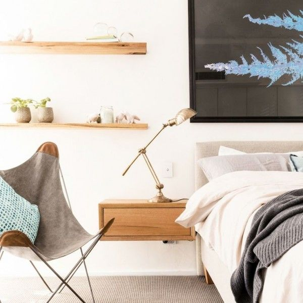 Beautiful Scandi-style bedroom with custom floating timber shelves. The top 12 looks from The Block: Triple Threat, via We-Are-Scout.com