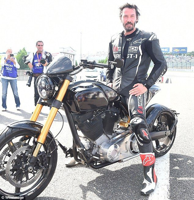 Bike fanatic: The Matrix star posed proudly on one of his custom bikes from his Arch Motorcycle Company