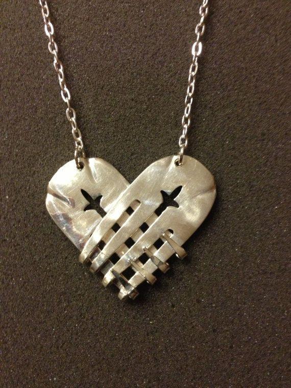 Herz Kette Silber Gabel