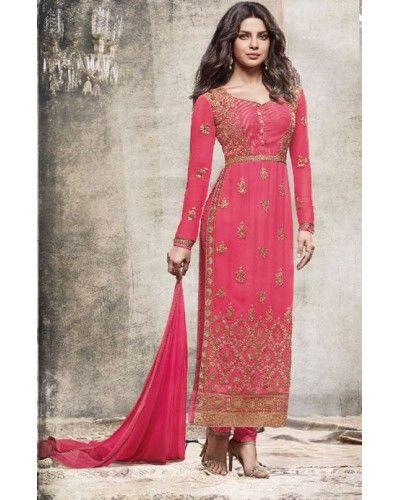Pink Georgette Embroidered Partywear