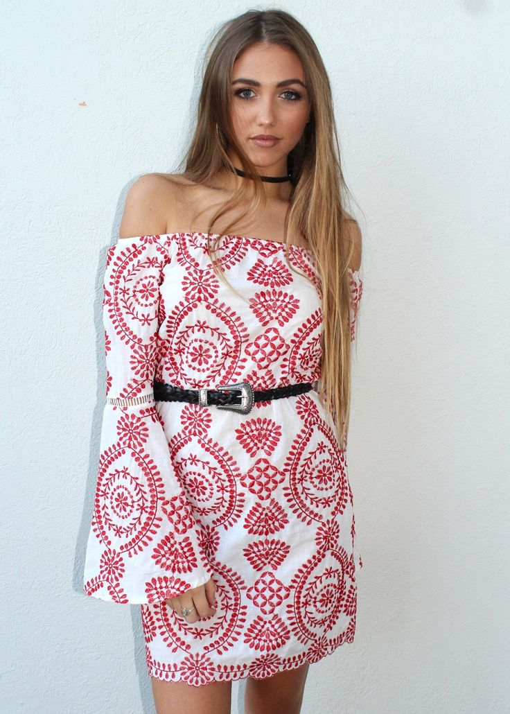 Cute Off the Shoulder Red and White Patterned Dress from Shine Boutiques // AU$65 //  #Shine #Boutiques #Sunshine #Coast Fashion