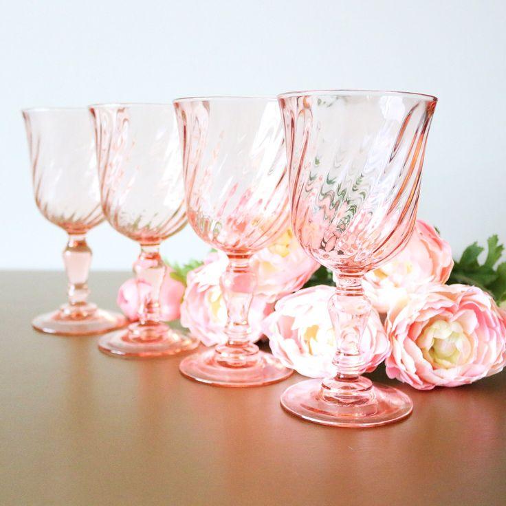 Vintage Pink Drinking Glasses, Set Of 4